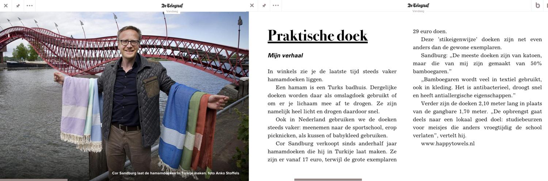 Happy Towels staat in de Telegraaf