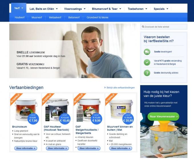 Screenshot Verfbestelsite.nl